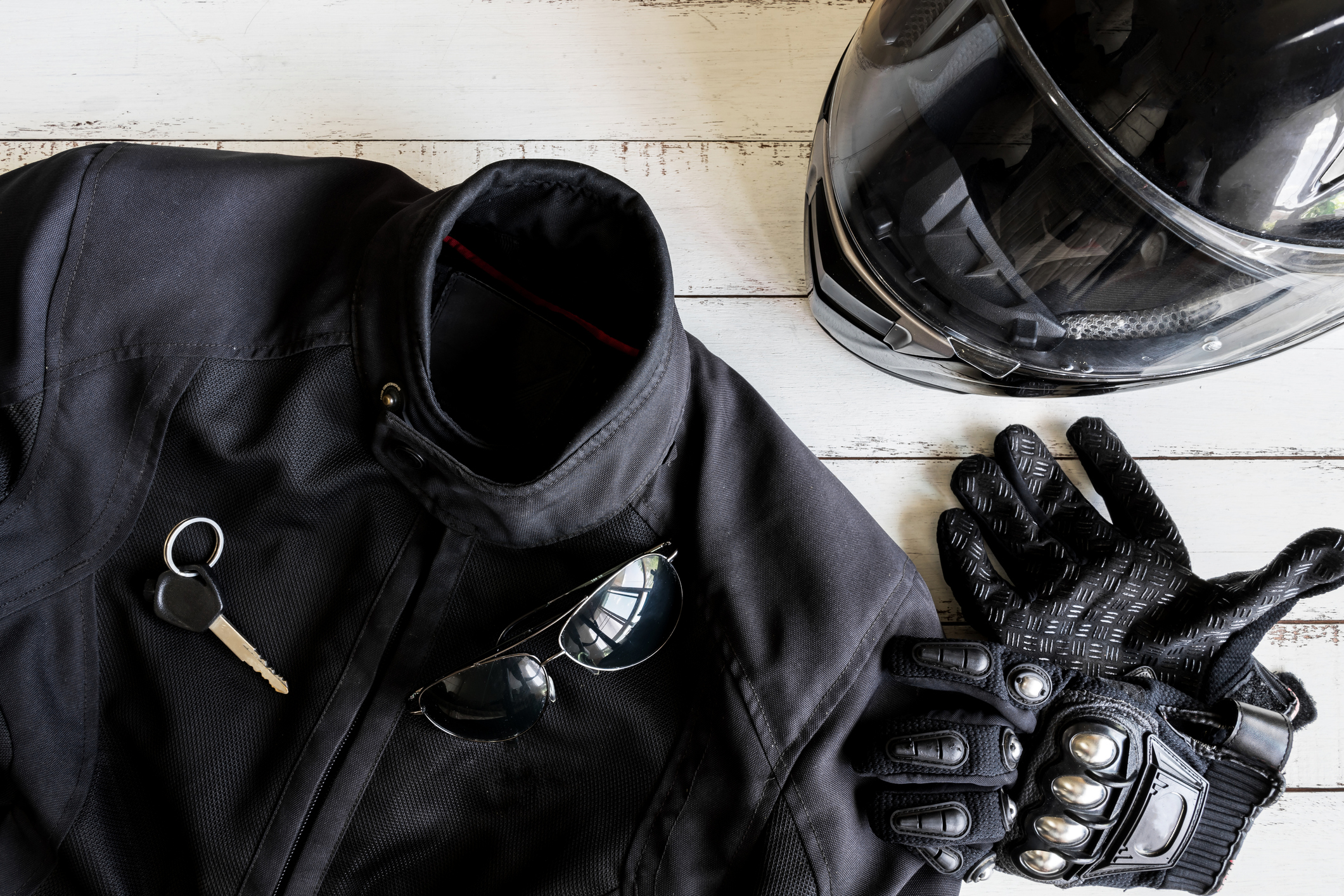 Outfit of Biker and accessories with copy space, Ready to ride